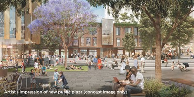 Concept image for Waterloo Metro Quarter public plaza from consultation flyer