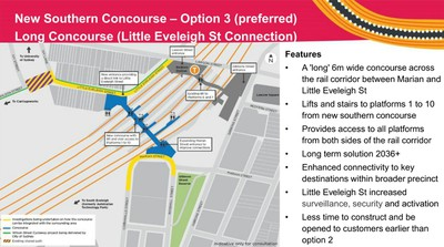 Redfern Station Option for Southern Concourse connecting through Little Eveleigh and Marian Streets - TfNSW 2019