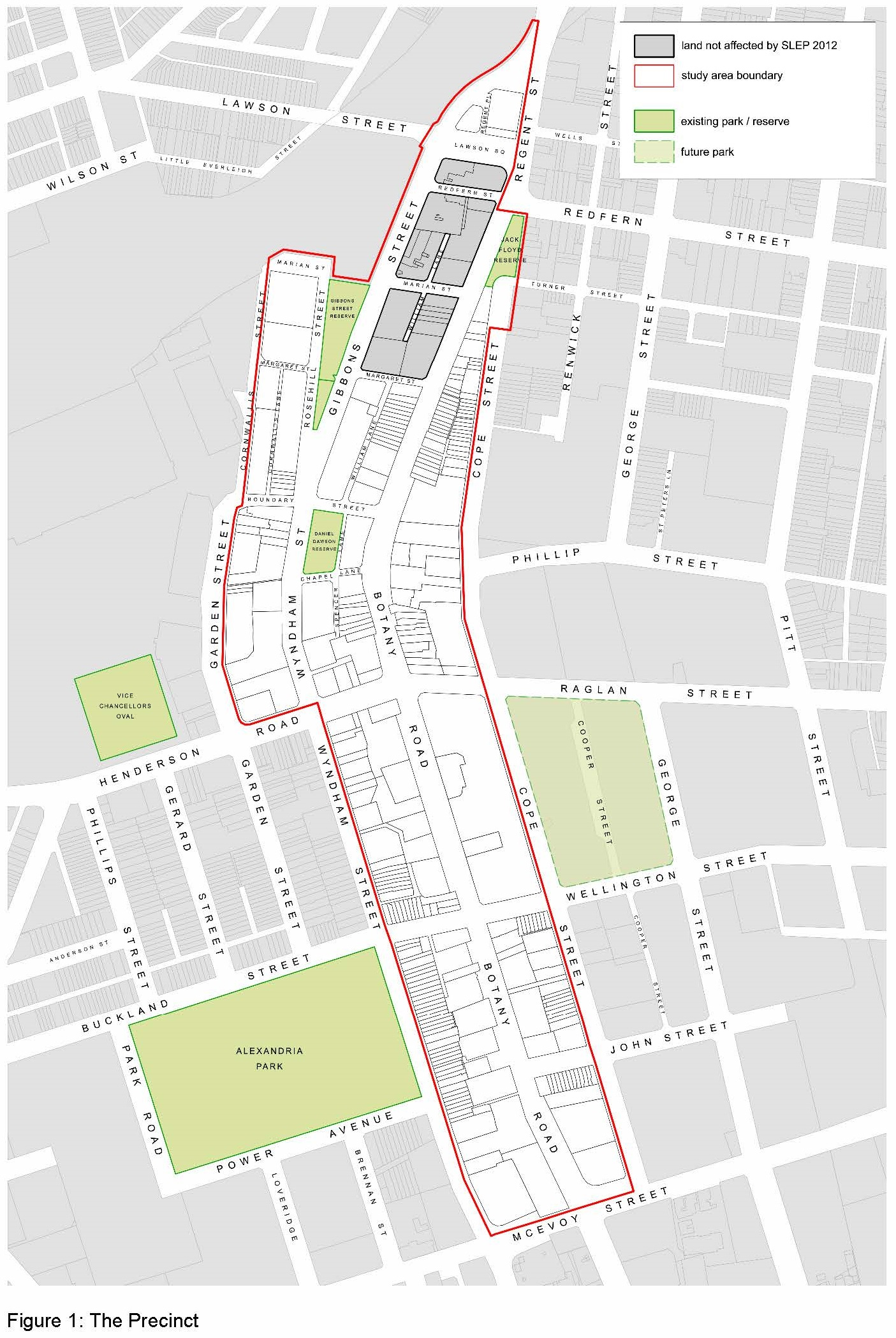 Map of Proposed Botany Road Precinct